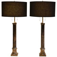Pair of Sterling Silver Plated Hollywood Regency Table Lamps,1960s