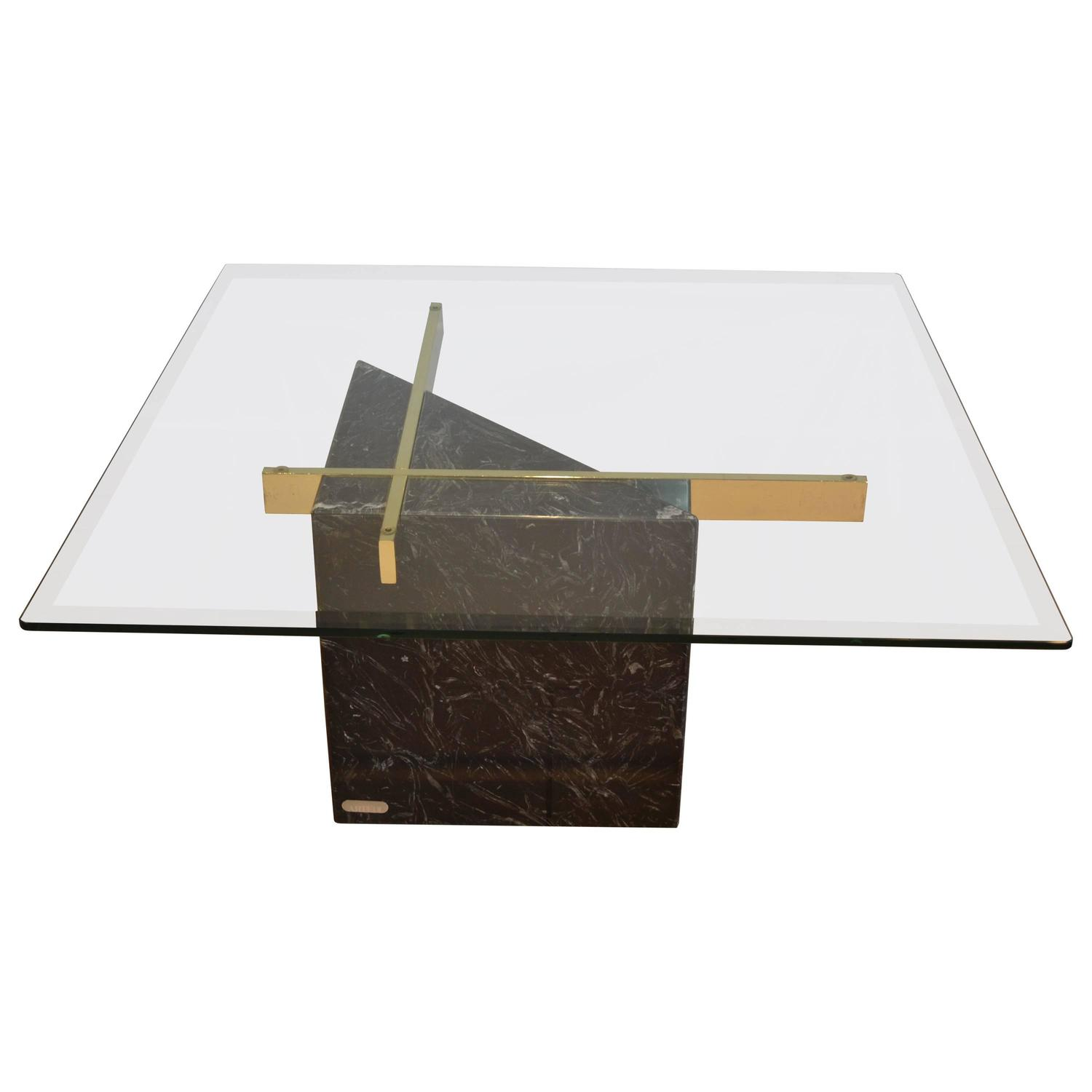 Marble Glass Top Coffee Table: Black Marquina Marble Base And Glass Top Coffee Table By
