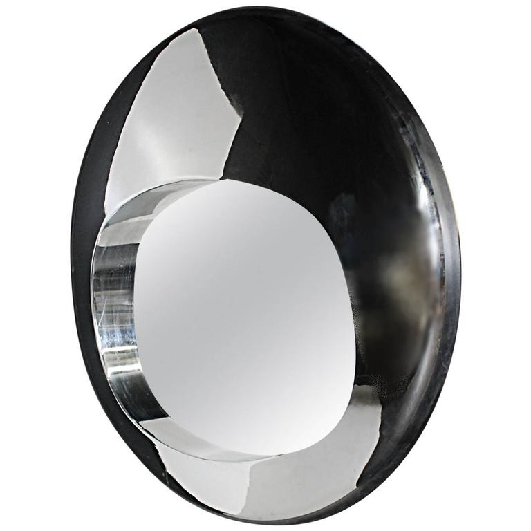 mid century modern chrome ovoid mirror in the manner of ron arad at 1stdibs. Black Bedroom Furniture Sets. Home Design Ideas