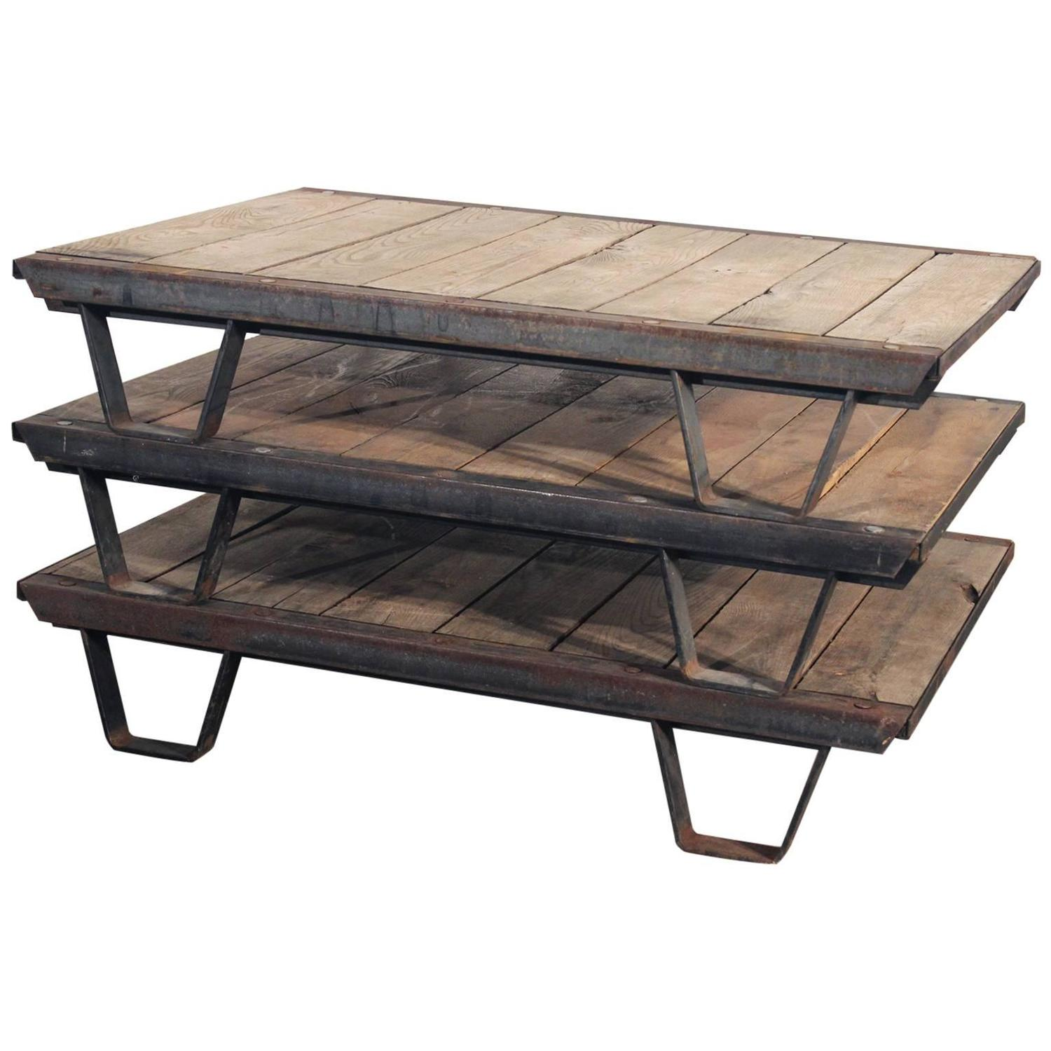 1930s Industrial Wooden Pallets Iron Rustic Frame For Sale at 1stdibs