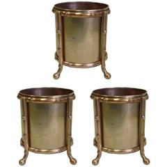 Three Solid Bronze Faux Bamboo Waste Baskets / Umbrella Stands by Maison Baguès