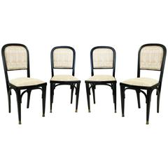 Set of Four Vienna Secession Side Chairs with Brass Feet in Ebonised Beechwood