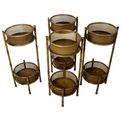Four 1970s Iron Planters Imitating Bamboo
