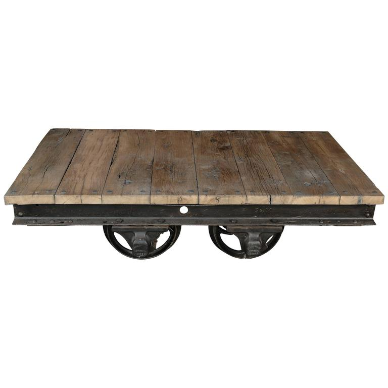 Industrial Steel And Oak Coffee Or Center Table Made Of A