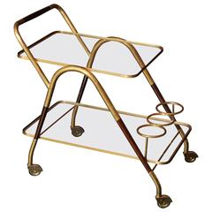 "1950s Italian ""Hollywood Regency"" Brass and Wooden Bar Cart by Cesare Lacca"
