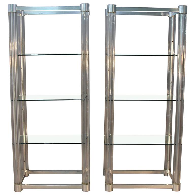 Amazing Pair of Lucite and Chrome Glass Shelf Etageres at 1stdibs
