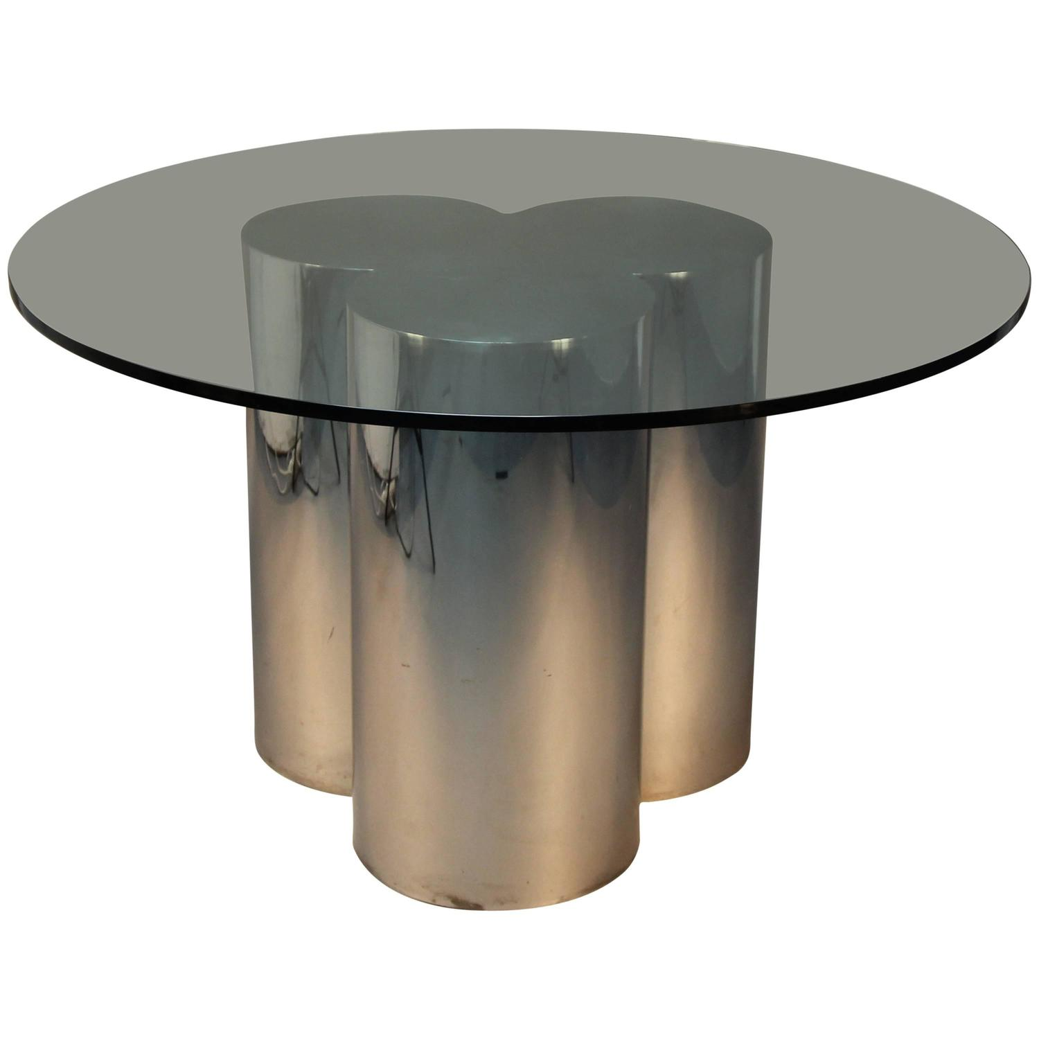 Jere Chrome Trefoil Pedestal or Table Base with Glass Top at 1stdibs