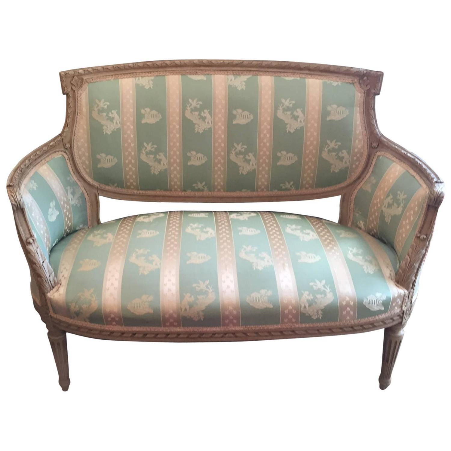 Vintage Carved And Painted Wood Upholstered French Settee Loveseat At  1stdibs