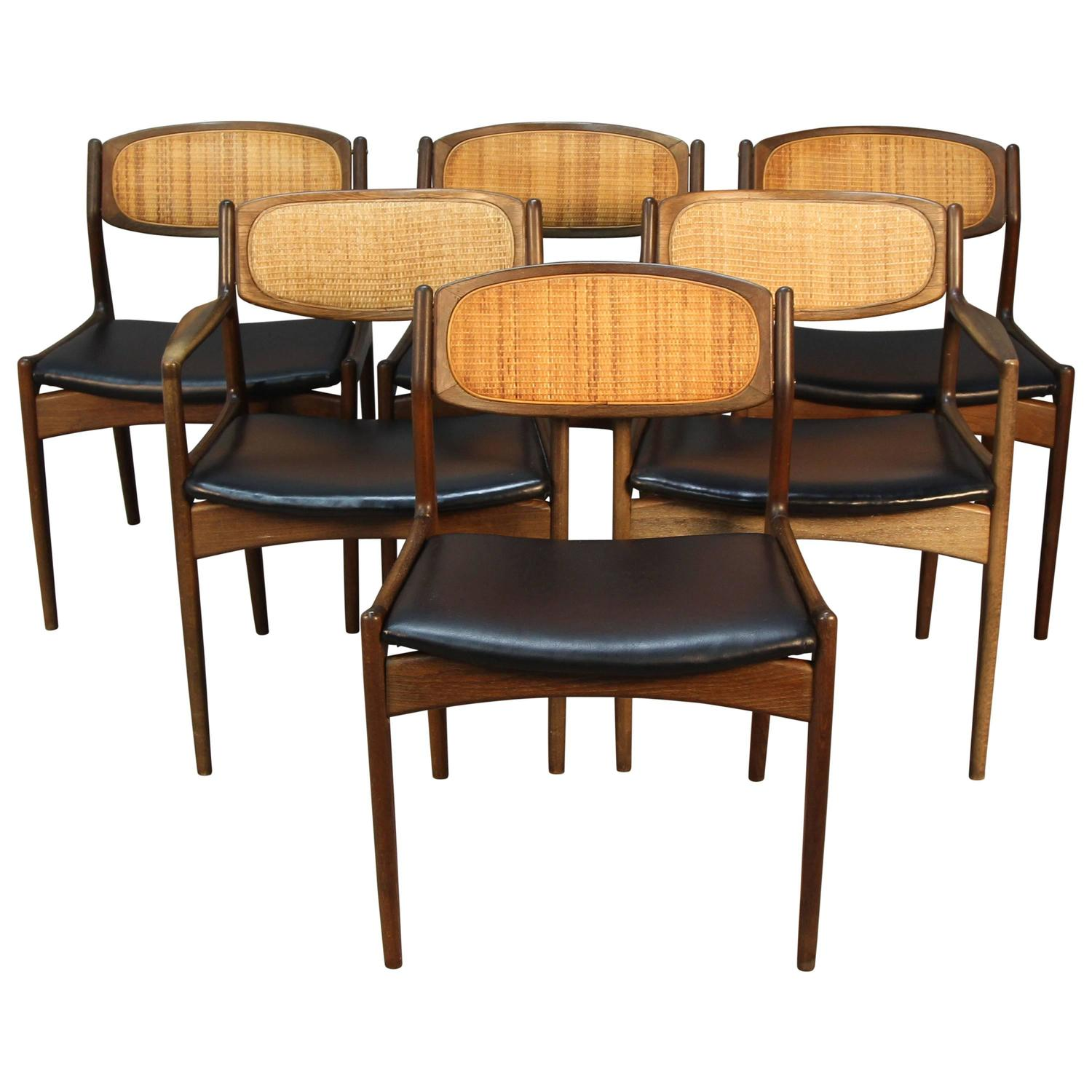 Set of Six Danish Modern Selig Walnut Dining Chairs with Caned
