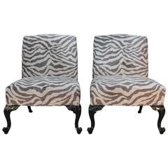Newly Lacquered and Upholstered Traditional Slipper Chairs