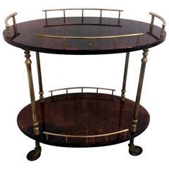 Aldo Tura Goatskin Parchment Bar Serving Cart