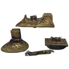 19 Century Austrian Bronze Desk/Smoking Set with Dachshunds, Signed