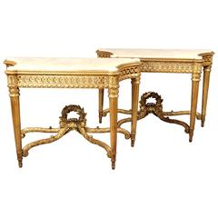 Magnificent Pair of Late 19th Century Hand-Carved Giltwood Consoles