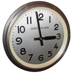 Midcentury French Industrial Wall Clock Produced by Charvet-Delorme of Lyon