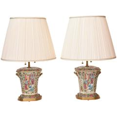 Pair of Chinese Porcelain Mandarin Bough Pot Lamps