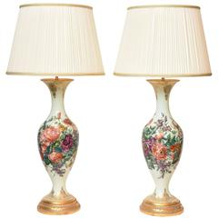 Massive Pair of 19th Century French Opaline Glass Lamps