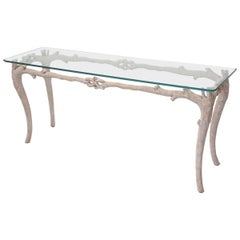 Faux Coral Metal Console Table