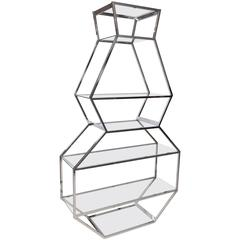 Chrome and Glass Etagere in the Manner of Milo Baughman