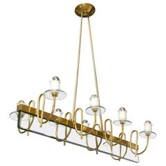 Brass and Glass Floral Chandelier in the Style of Fontana Arte