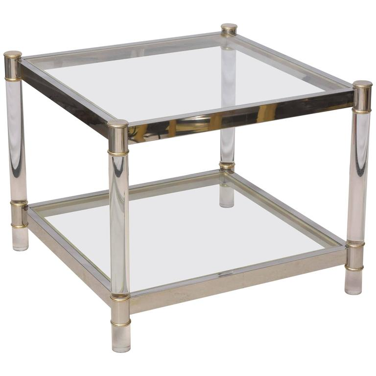 Two-Tone Lucite Side Table in the Style of Maison Jansen 1