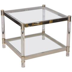 Two-Tone Lucite Side Table in the Style of Maison Jansen