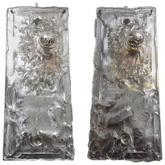 Pair of Silver Italian Glass Sconces in the Style of Toni Zuccheri