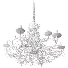 White Faux Coral Iron Chandelier