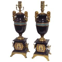 Pair of Champlevé and Marble Urn Lamps Attributed to Barbedienne 19th Century