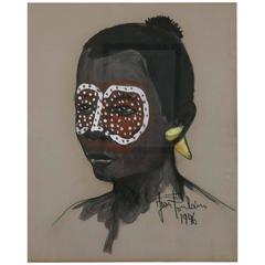 African Portrait with Yellow Tribal Makeup by Jean Poulain, Art Deco, 1946