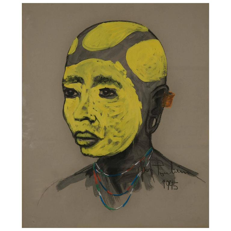 African Portrait with Yellow Tribal Makeup by Jean Poulain, Art Deco, 1945 For Sale