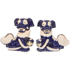 Vintage Chinese Blue and White Foo Dogs