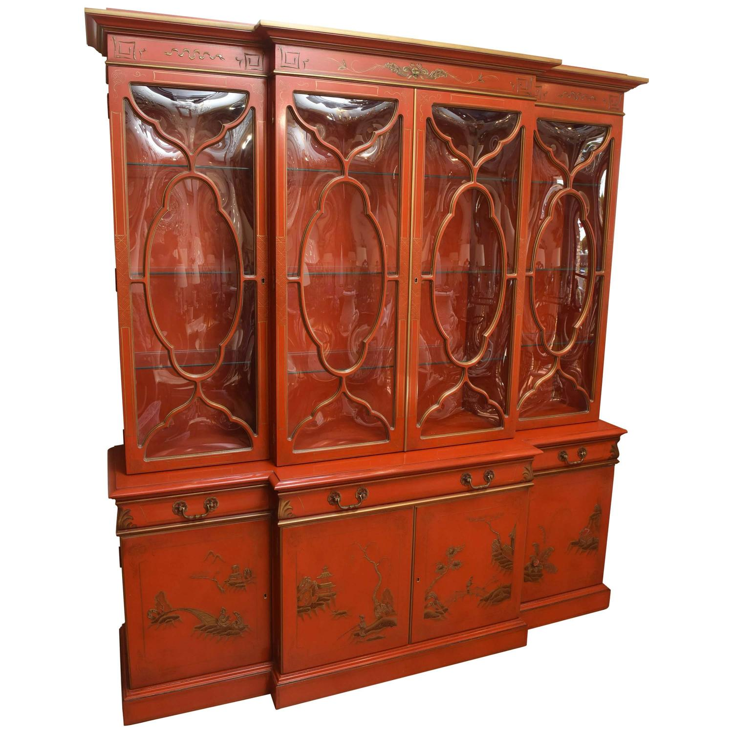 Vintage Chinoiserie Breakfront By Karges For Sale At 1stdibs