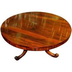 19th Century English William IV Rosewood Circular Table