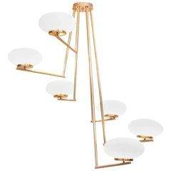 Very Huge and Elegant Brass and Opaline Glass Chandelier