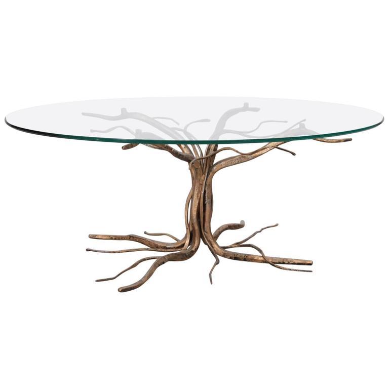 Rare Bronze Coffee Table In Tree Form By Salvino Marsura 1