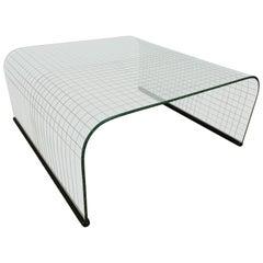 Waterfall Grid Pattern Glass Coffee Table