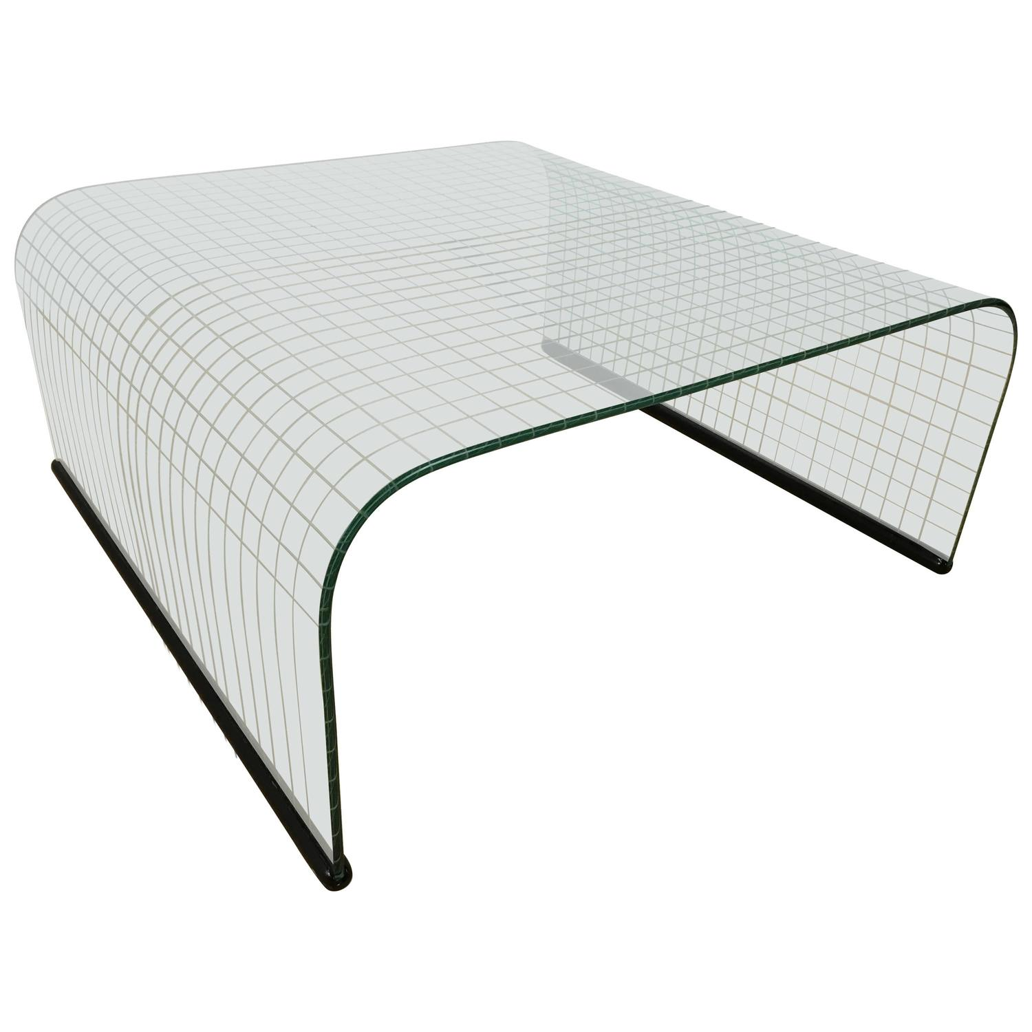 Contemporary Modern Curved Glass End Table For Sale at 1stdibs
