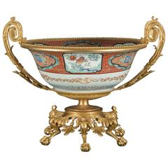 Japanese Porcelain with French Bronze D'ore Mounts Centerpiece