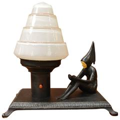 Art Deco Harlequin Lamp with Tiered Glass Shade, 1920s JB Hirsch