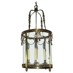 Outstanding Large French Gilt Bronze Ribbon Bow Lantern Fine Chandelier Fixture