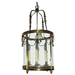Outstanding French Gilt Bronze Ribbon Bow Lantern Fine Chandelier Fixture