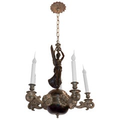 Wonderful French Empire Neoclassical Doré Bronze Patina Figural Lion Chandelier