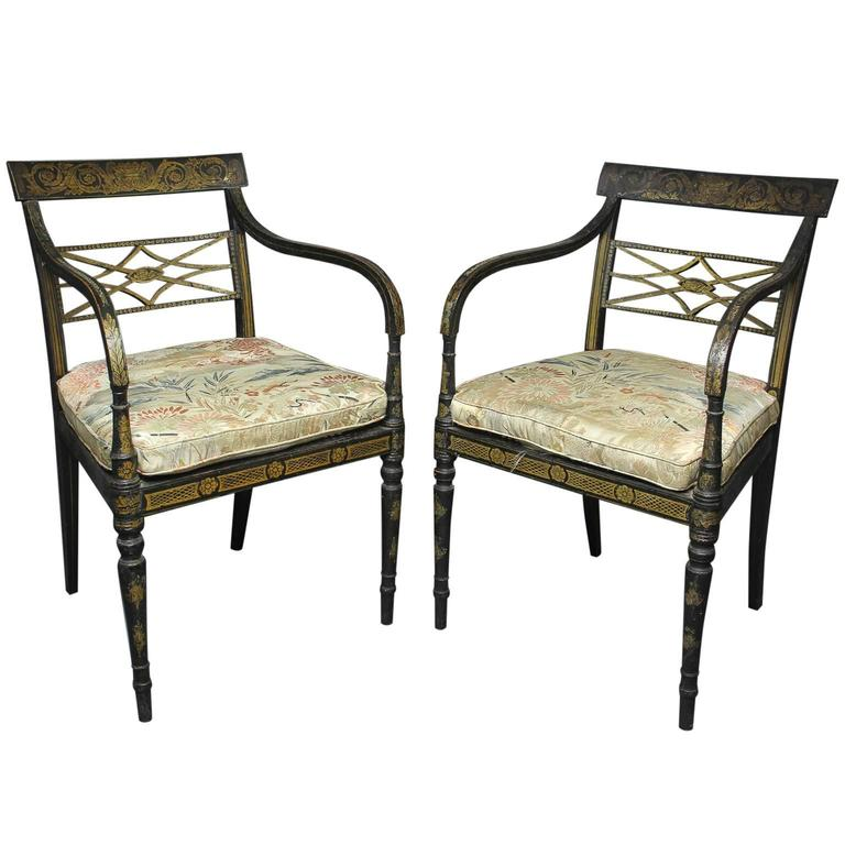 Pair of Regency Ebonized and Gilded Armchairs For Sale at