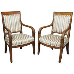 Pair of French Empire Fruitwood Fauteuil