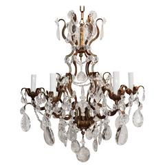 Wonderful French Bronze Gilt and Cut Crystal Baguès Chandelier Beaded Fixture