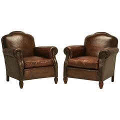 French Leather Club Chairs, circa 1930s