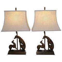 Pair of Art Deco Period Whippet Figural Table Lamps