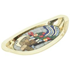 Teran Attributed Hand-Wrought Polished Brass and Glass Mosaic Abstract Bowl