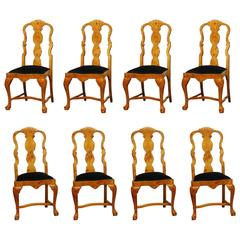 Set of Eight Burl Wood Queen Anne Dining Chairs