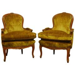 Pair of Louis XV Hand-Carved Topaz Velvet Bergere Chairs